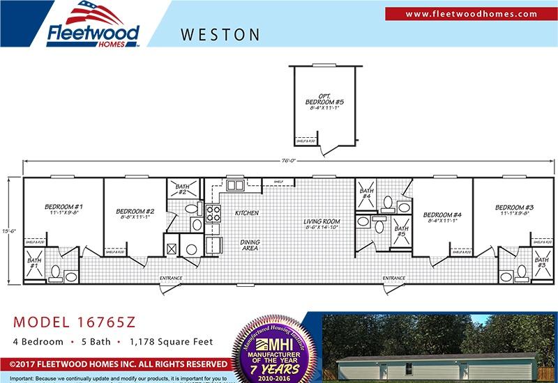 Fleetwood Weston WE16764W Mobile Home Floor Plan