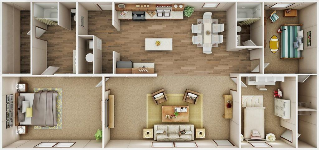 TruMH Ali / Thrill Mobile Home 3D Floor Plan