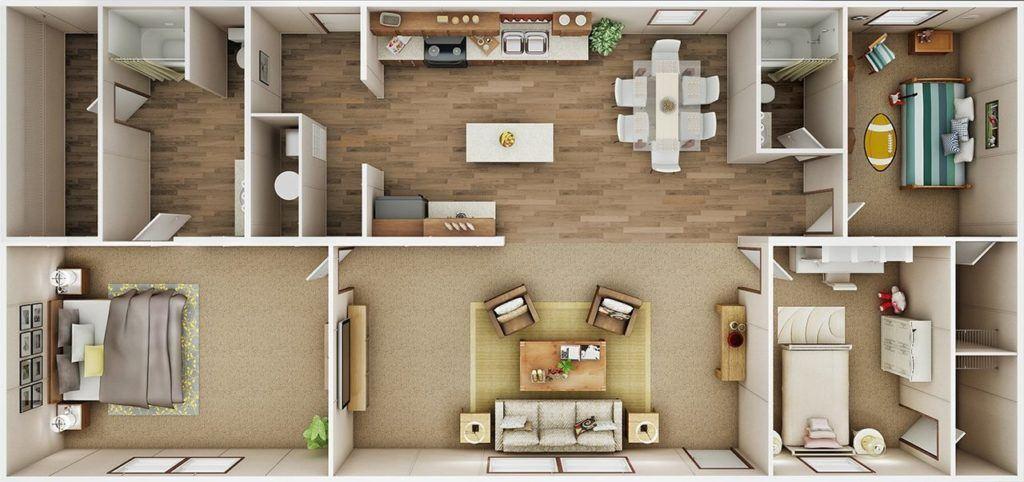 TruMH Ali / Thrill Mobile Home 3D Floor Plan