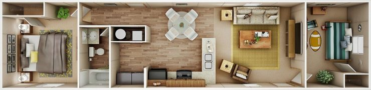 TruMH Dempsey / Bliss Mobile Home 3D Floor Plan