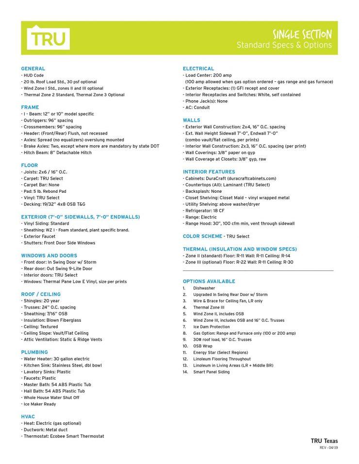 Tru Standards Sheet