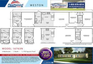 Fleetwood Weston 16763N Mobile Home Branded Floor Plan