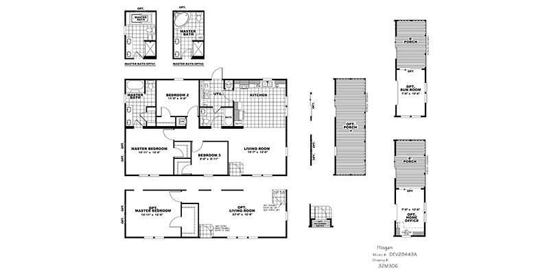 CMH Hogan DEV28443A Mobile Home Floor Plan