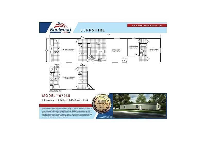 Fleetwood Berkshire 16723B Mobile Home Floor Plan