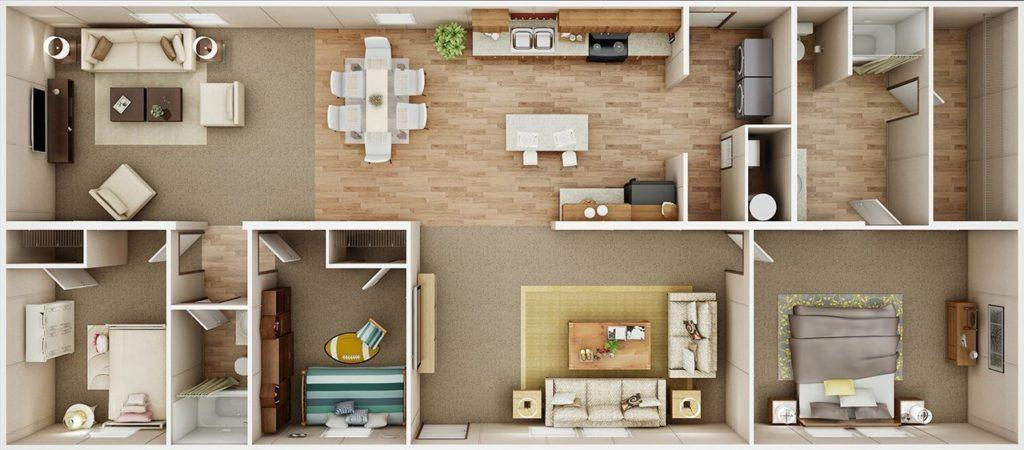TruMH Holyfield / Jubilation Mobile Home 3D Floor Plan