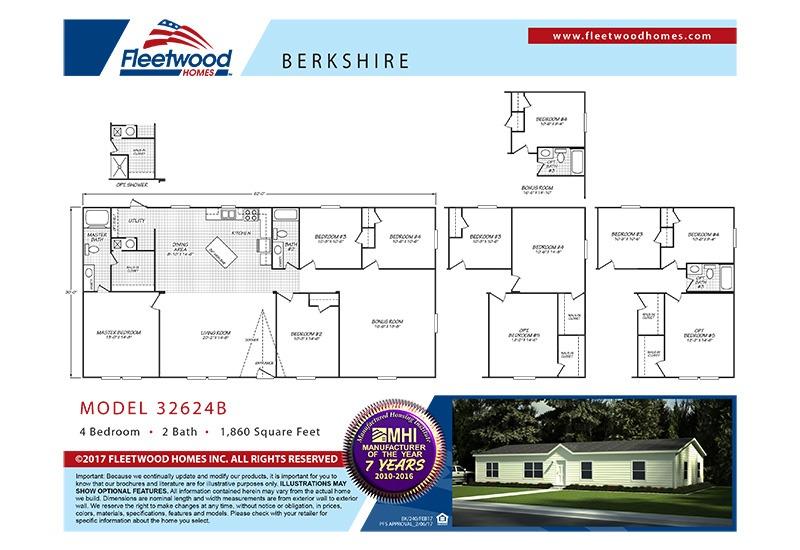 Fleetwood Berkshire 32624B Mobile Home Floor Plan