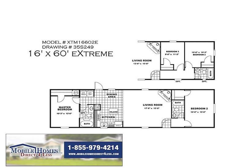 EASY LIVIN 16602E Mobile Home Branded Floor Plan
