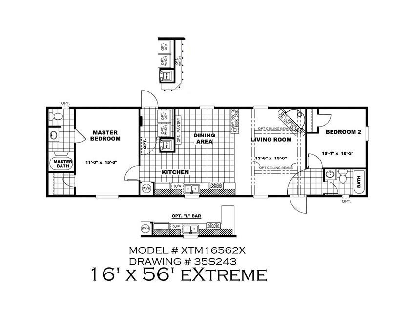 CMH Xtreme 56 FT Mobile Home Floor Plan