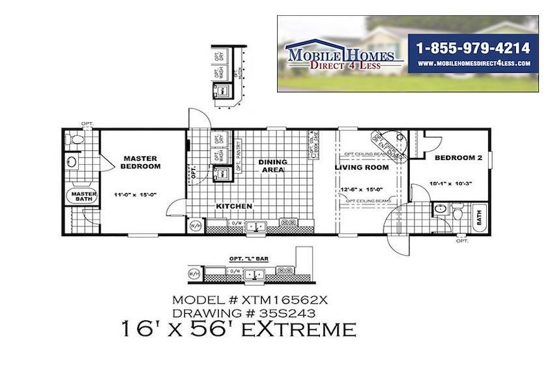 XTM16562X Mobile Home Branded Floor Plan