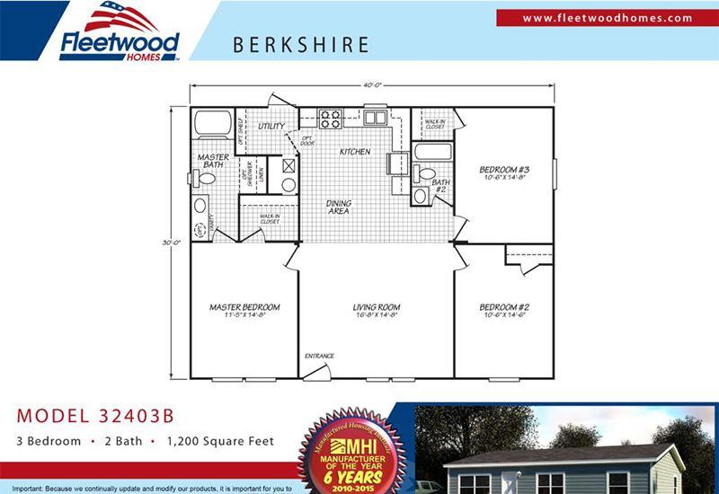 Fleetwood Berkshire 32403B Mobile Home Floor Plan
