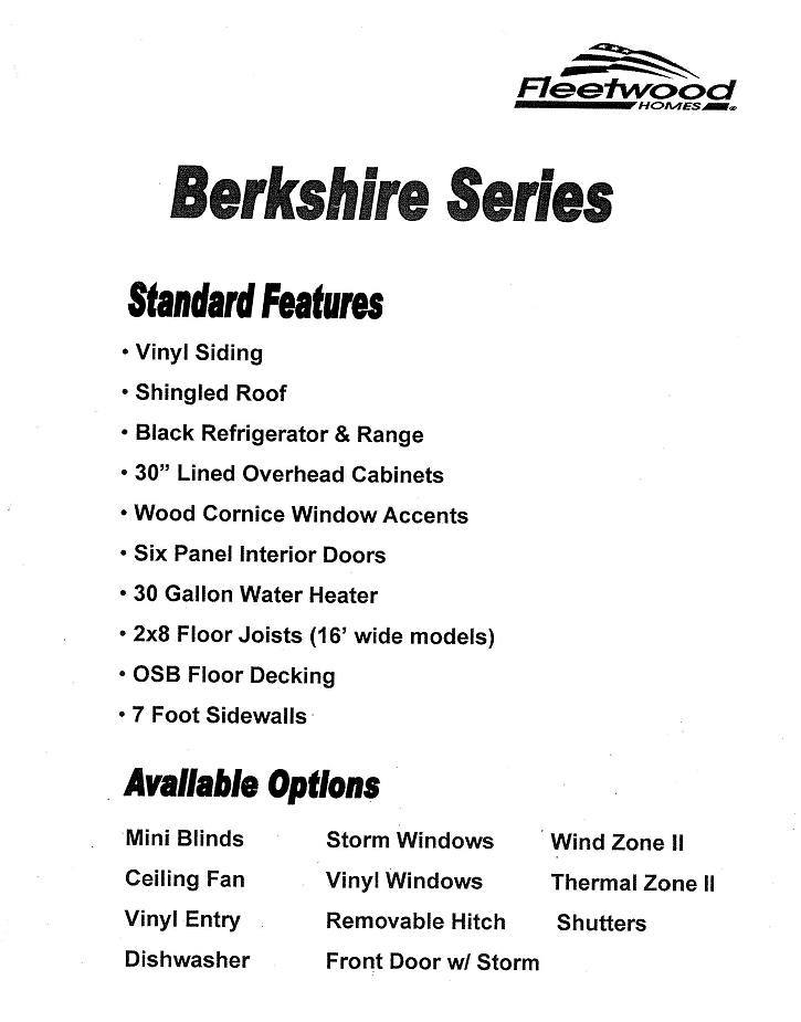 Berkshire Series Standard Features