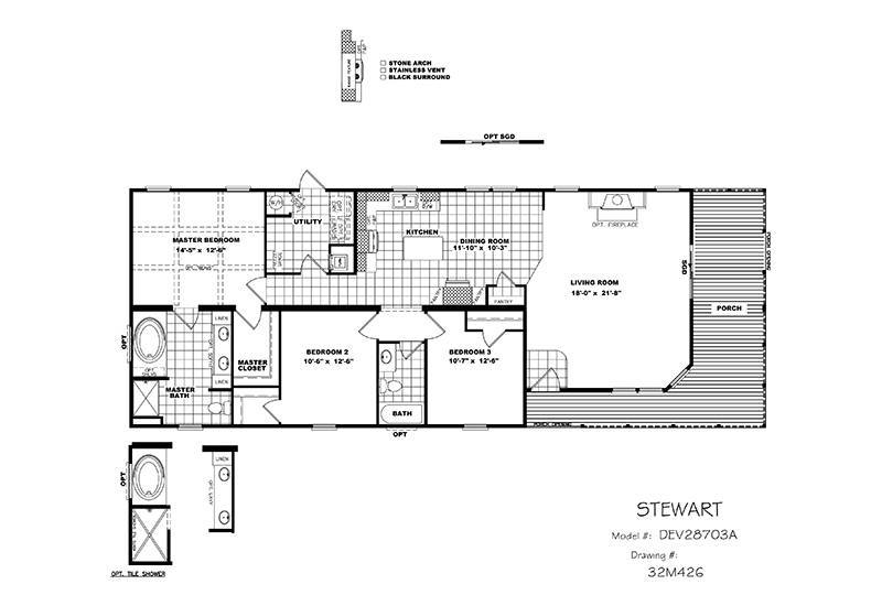 CMH Stewart DEV28703A Mobile Home Floor Plan