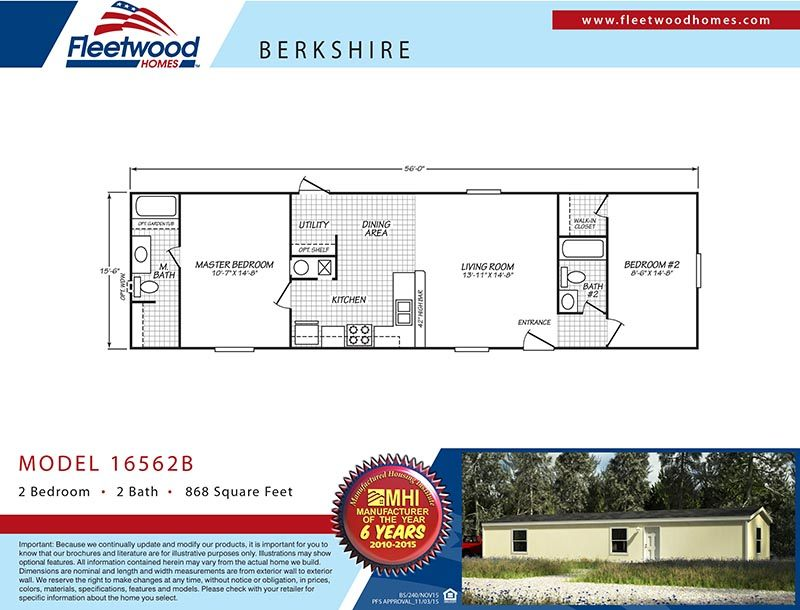 Fleetwood Berkshire 16562B Mobile Home Floor Plan