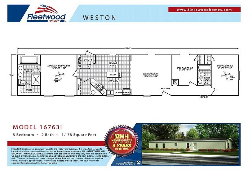 Fleetwood Weston 16763I Mobile Home Floor Plan
