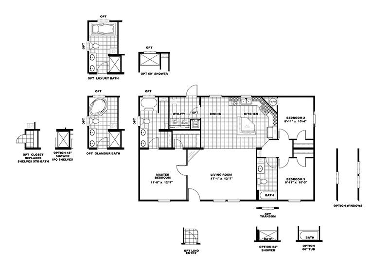 CMH Infinite Value SLT28443A Mobile Home Floor Plan
