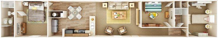 TruMH Lewis / Glory Mobile Home 3D Floor Plan