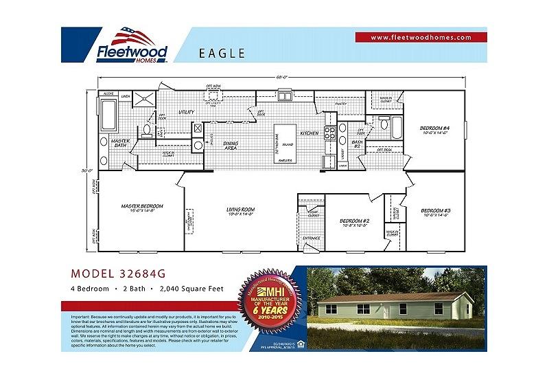 Fleetwood Berkshire 32684G Mobile Home Floor Plan