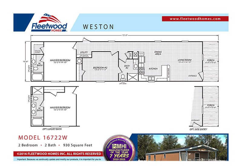 Fleetwood Weston 16722W Mobile Home Floor Plan