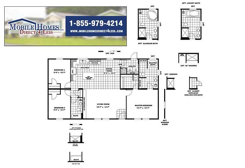 The Real Deal RDX16763V Mobile Home Branded Floor Plan
