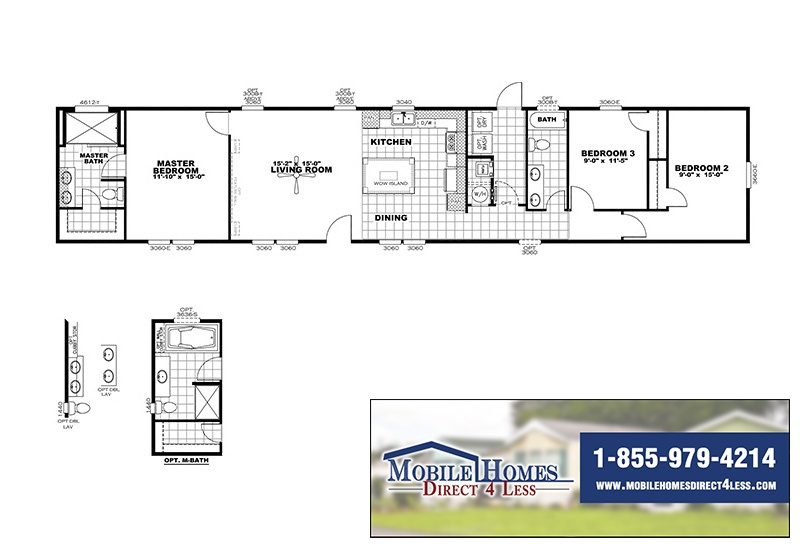 CMH Smart Buy SMB16803W Mobile Home Branded Floor Plan
