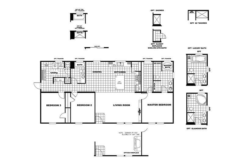 Clayton SLT28563D Mobile Home Floor Plan