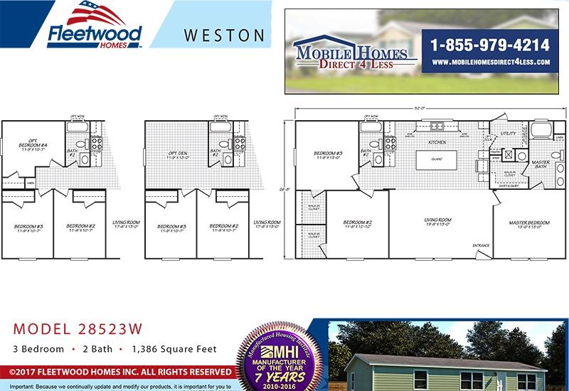 Fleetwood Weston 28523W Mobile Home Branded Floor Plan