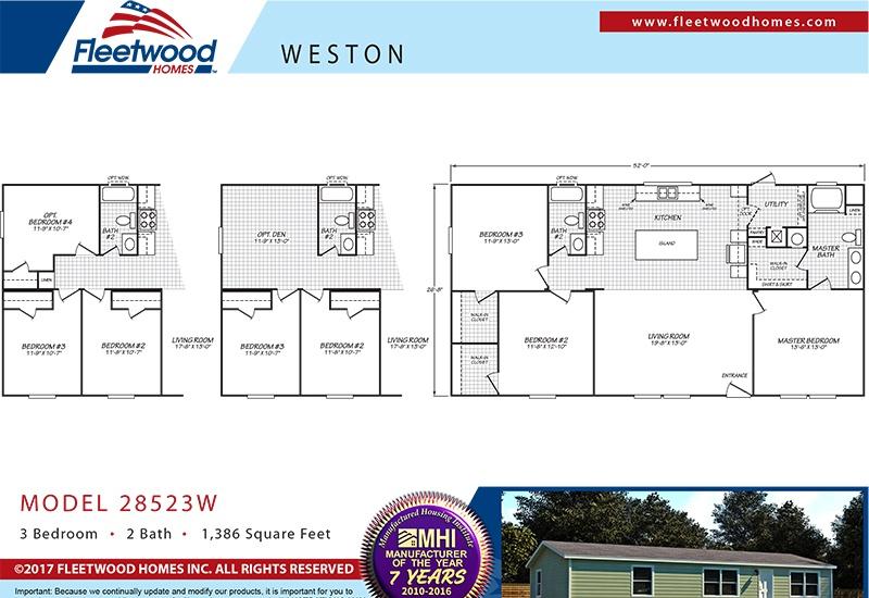 Fleetwood Weston 28523W Mobile Home Floor Plan