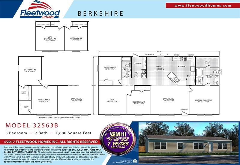 Fleetwood Berkshire 32563B Mobile Home Floor Plan