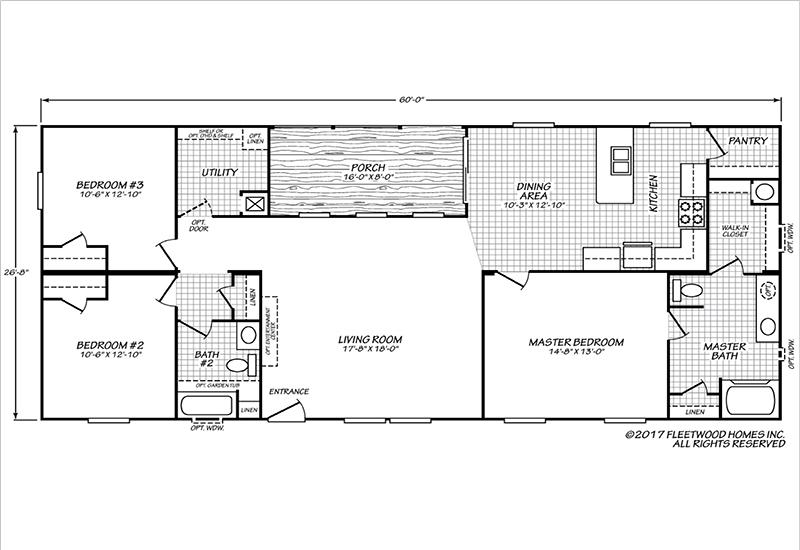 Fleetwood Weston Mobile Home 28603W Floor Plan
