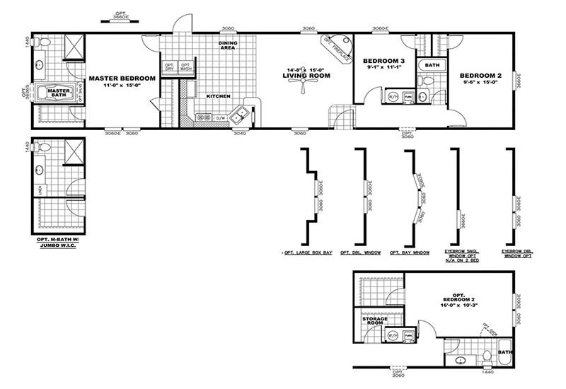 Clayton Smart buy 16723B Mobile Home Floor Plan