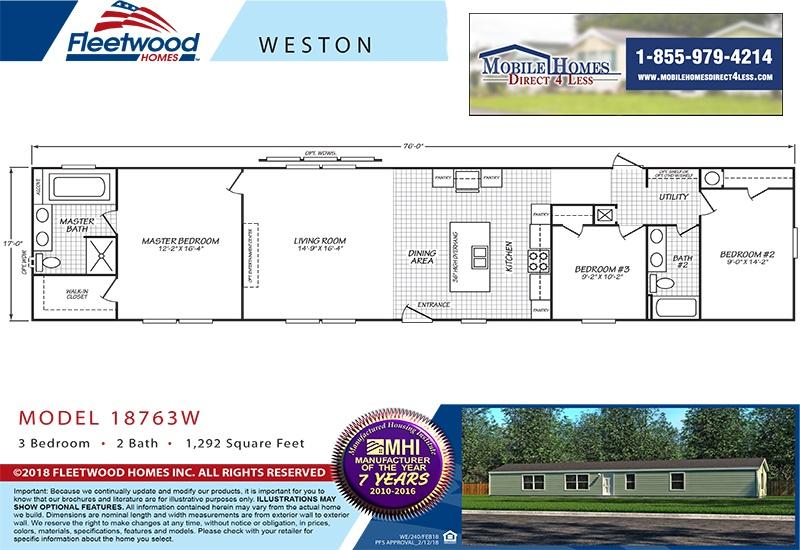 Fleetwood Weston 18763W Mobile Home Branded Floor Plan