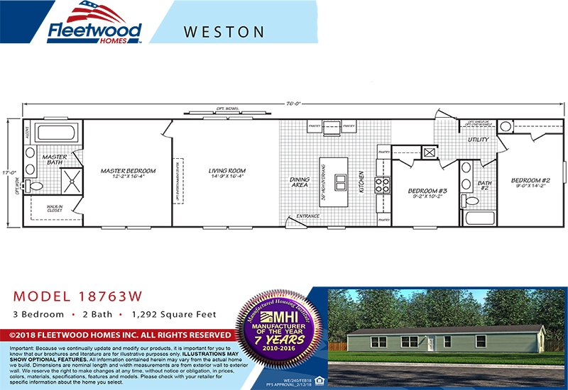 Fleetwood Weston 18763W Mobile Home Floor Plan