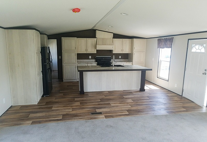 Fleetwood Weston 18763W Mobile Home Living Room and Kitchen
