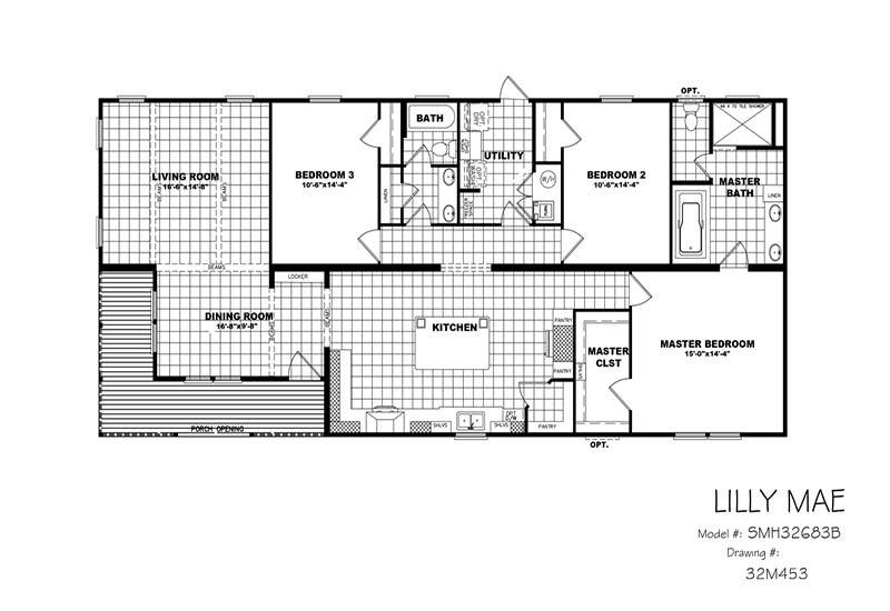 Clayton Lilly Mae - Mobile Home - Floor Plan