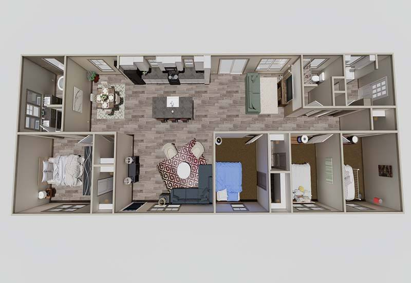 Clayton Nellie - Mobile Home - 3D Floor Plan