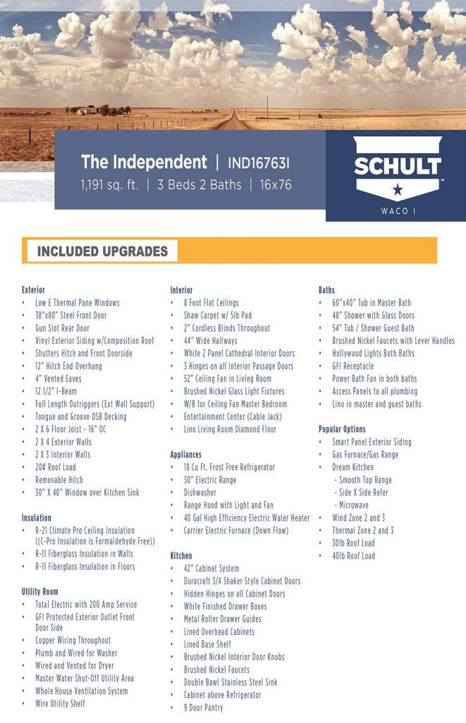Included Upgrades - Independent Model