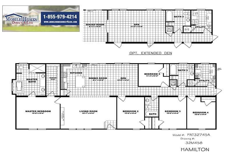 Hamilton Par32745a 4 Or 5 Bed 3 Bath Double Wide For Sale