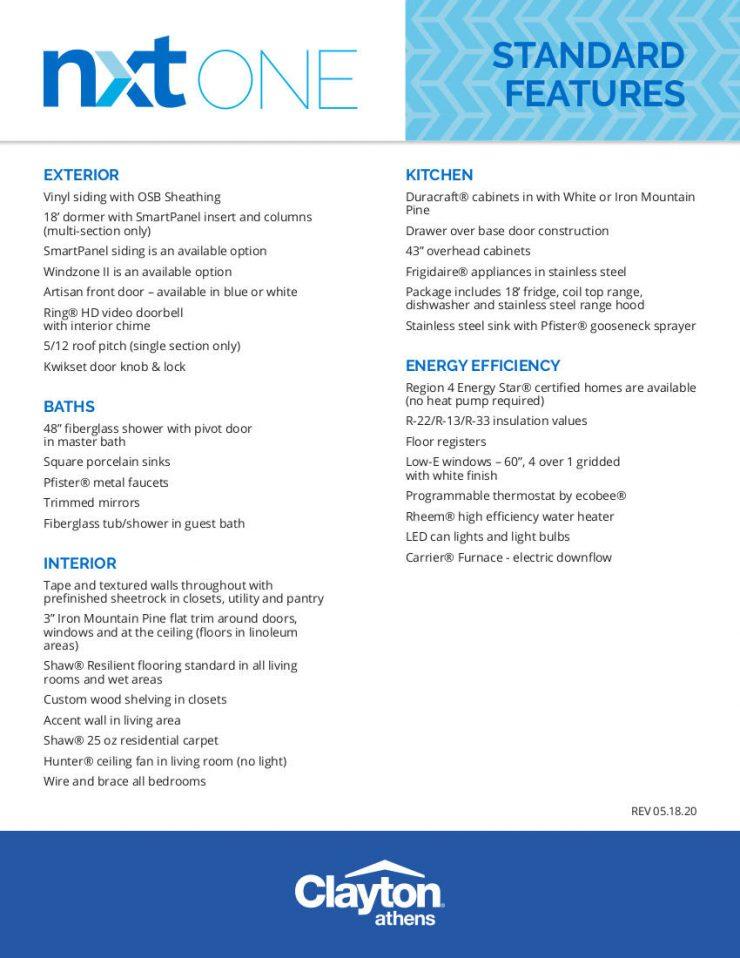 Fletcher - NXO28523A -Standard Features